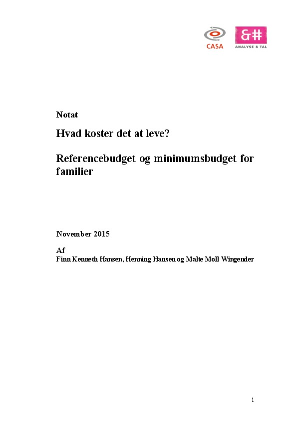 Hvad koster det at leve? Referencebudget og minimumsbudget for familier